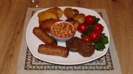 Plate of hot vegan breakfast