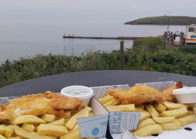 Knockadoon snack of Fish and Chips at the Lobster Pot
